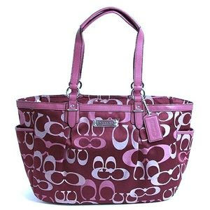 Coach Signature Gallery Optic Bordeaux Tote